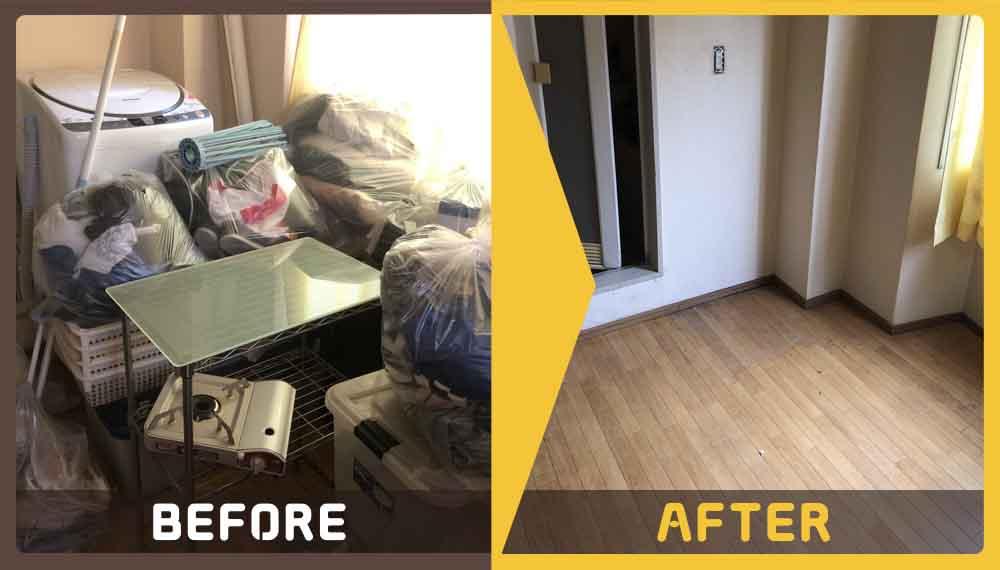 引っ越しに伴い8畳ワンルームにある不用品処理にお困りのお客様からご依頼いただきました。
